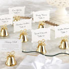 """Gold Kissing Bells Place Card/Photo Holder (Set of 24)"""