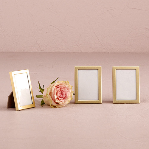 Set of 3) Mini Photo Frame Favour In Gold Or Silver Easel Back