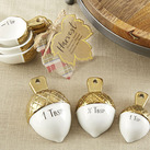 Gold Dipped Ceramic Acorn Measuring Spoons Bomboniere