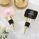 Personalised Gold Bottle Stopper with Epoxy Dome - Wedding