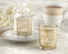 "Kate Aspen """"Golden Renaissance"" Glass Tealight Holder (Set of 4)"""
