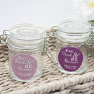 Personalised Wedding Glass Jar Favours With Wire Snap-Eat, Drink & Be Married