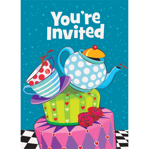Mad Hatters Tea Party Invites Party Invitation Cards 8pk