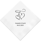 (Set of 100) Double Hearts Printed Napkins
