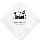 (Set of 100) We're So Engaged Personalised Napkins