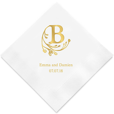 (Set of 100) Modern Fairy Tale Initial Printed Napkins