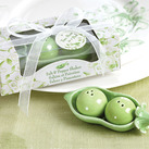 "Kate Aspen ""Two Peas in a Pod - Ceramic Salt & Pepper Shakers in Ivy Print Gift Box"""