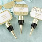 Personalised Gold Bottle Stopper with Epoxy Dome - Gold Foil