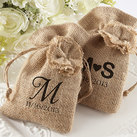 "(Set of 12) Personalised ""Rustic Renaissance"" Burlap Favor Bag with Drawstring Tie"