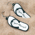 """(Set of 6) Mini Flip Flop ""Just Married"" Beach Key Chains Wedding Favours"""