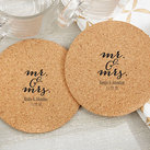 (Set of 12) Personalised Round Cork Coasters - Mr. and Mrs.