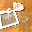 Personalised Engraved Glass Coasters - Wedding