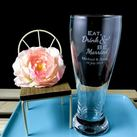 Personalised Engraved Beer Glass - Eat, Drink & Be Married Design