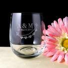Personalised Engraved Medium Crystal Stemless Wine Glass 11 Oz