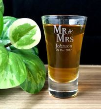 Personalised Engraved Shot Glasses 60ml - Mr and Mrs Design