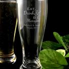 Personalized Engraved Beer Glass - Eat, Drink & Be Married Design