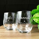 Will You Be My Bridesmaid - Personalised Engraved Medium Crystal Stemless Wine Glass 11 Oz (315 ml)