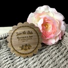 Engraved Wooden Wedding Save the Date Round Style with Magnet