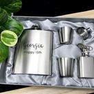Personalised Engraved Stainless Steel Hip Flask Set - Birthday Design