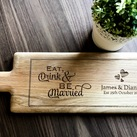 Personalised Engraved Oak Handled Wooden Long Serving Board - Wedding Gift Design