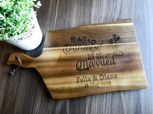 Personalised Engraved Acacia Wavy Handled Wooden Board Large - Wedding Gift Design