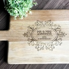 Personalised Engraved Oak Handled Wooden Board Large - Wedding Gift Design