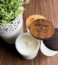Personalised Engraved Wooden Lid Wedding Candles in a Medium Oxford Jar