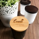 Personalised Engraved Bamboo Wooden Lid Wedding Candles in Black Medium Oxford Tumbler