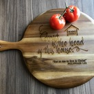 Personalised Engraved Kitchen House Warming Gift Chef - Acacia Handled Wooden Serving Board