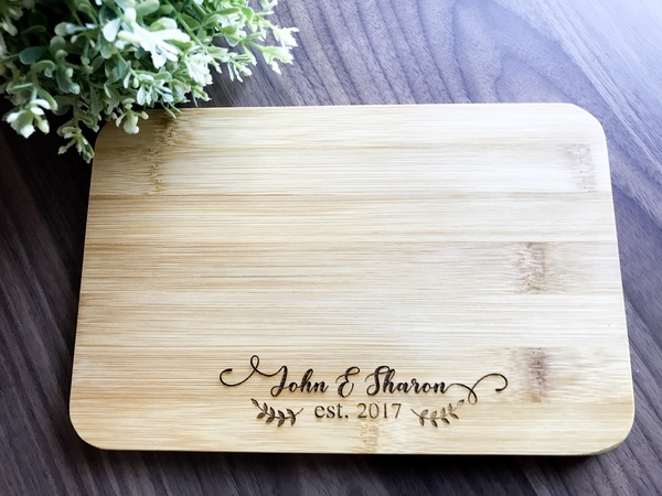 Engraved Wedding Gifts For Bride And Groom: Personalised Engraved Mini Bamboo Serving Board