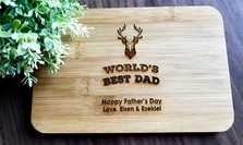 Father's Day Gifts - Personalized Engraved Mini Bamboo Serving Board
