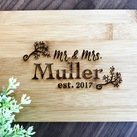 "Personalized Engraved ""Mr & Mrs"" Mini Bamboo Serving Board - Wedding Gift, Gift for Bride and Groom"