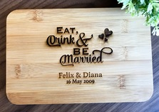 "Personalised Engraved Mini Bamboo Serving Board ""Eat Drink Be Married"" - Wedding Gift 