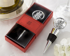 "Kate Aspen """"Double Happiness"" Elegant Chrome Bottle Stopper in Asian-Themed Gift Box """