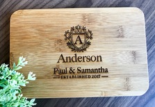 "Personalised Engraved Mini Bamboo Serving Board ""Regal Design"" - Wedding Gift 