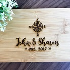"Personalised Engraved Mini Bamboo Serving Board ""Destination Design"" - Wedding Gift 