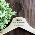 Custom Engraved Natural Wood Maid of Honour or Bridesmaid Coat Hangers