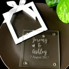 Personalised Engraved Glass Coasters - Love Heart Design