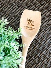 Personalized Engraved Wooden Spoon, or Wooden Spatula, or Wooden Fork - Mr Mrs design