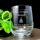 Christmas Gift - Personalised Engraved Medium Crystal Stemless Wine Glass 11 Oz (315 ml)