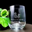 Personalised Engraved Medium Crystal Stemless Wine Glass 11 Oz (315 ml) - Pineapple Design