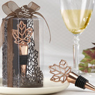 "Kate Aspen """"Lustrous Leaf"" Copper-Finish Bottle Stopper in Laser-Cut Leaf Gift Box """