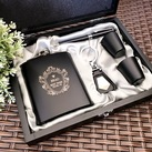 Personalised Engraved Black Gloss Hip Flask Set - Best Man