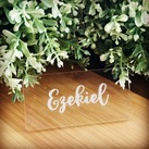 Personalised Engraved Clear Acrylic Rectangle Wedding Guest Placecards / Place card holder, Seating Place Cards