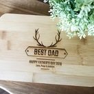 Father's Day Gifts - Personalized Engraved Mini Bamboo Serving Board (Antler Design)