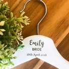 Personalised Engraved White Wood Wedding Coat Hangers