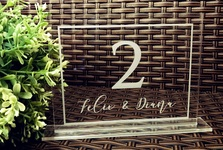 Personalised Engraved Clear Acrylic Table Numbers - Wedding Table Seat Numbers with Bride & Groom Name