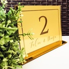 Personalised Engraved Gold Mirror Acrylic Table Numbers - Wedding Table Seat Numbers with Bride & Groom Name
