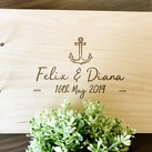 Personalised Wedding Guest Book, Wooden Engraved Custom Engagement Guest Book on Rings - Anchor Design