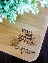 Father's Day Gifts - Personalized Engraved Mini Bamboo Serving Board (Growing Up Fun Design)